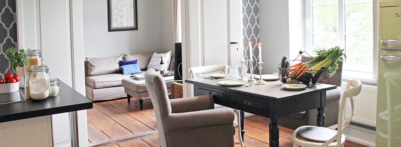 Gutshaus Volzrade Ferienwohnung Akazie Esszimmer Küche